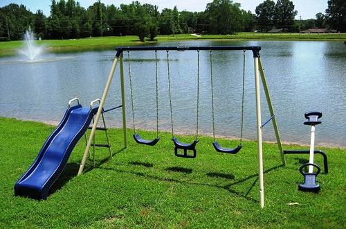 View Flexible Flyer Backyard Swingin Fun Metal Swing Set ...
