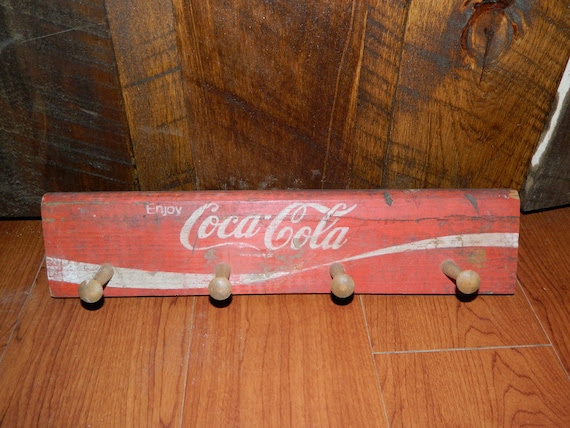 Coca Cola Wooden Crate Coat Rack Wall Plaque Vintage