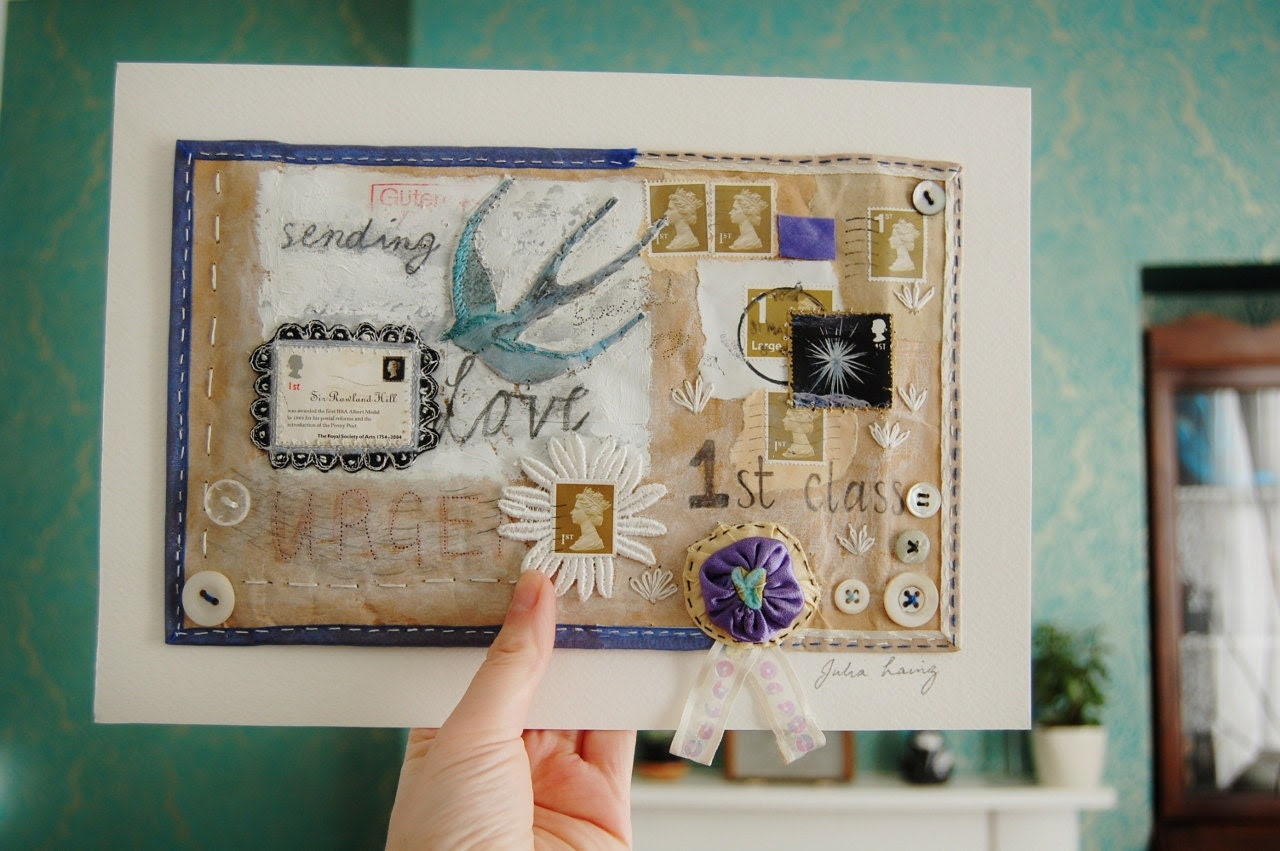 Mixed Media ready to frame mail-art embroidered envelope 'Sending Love First Class'