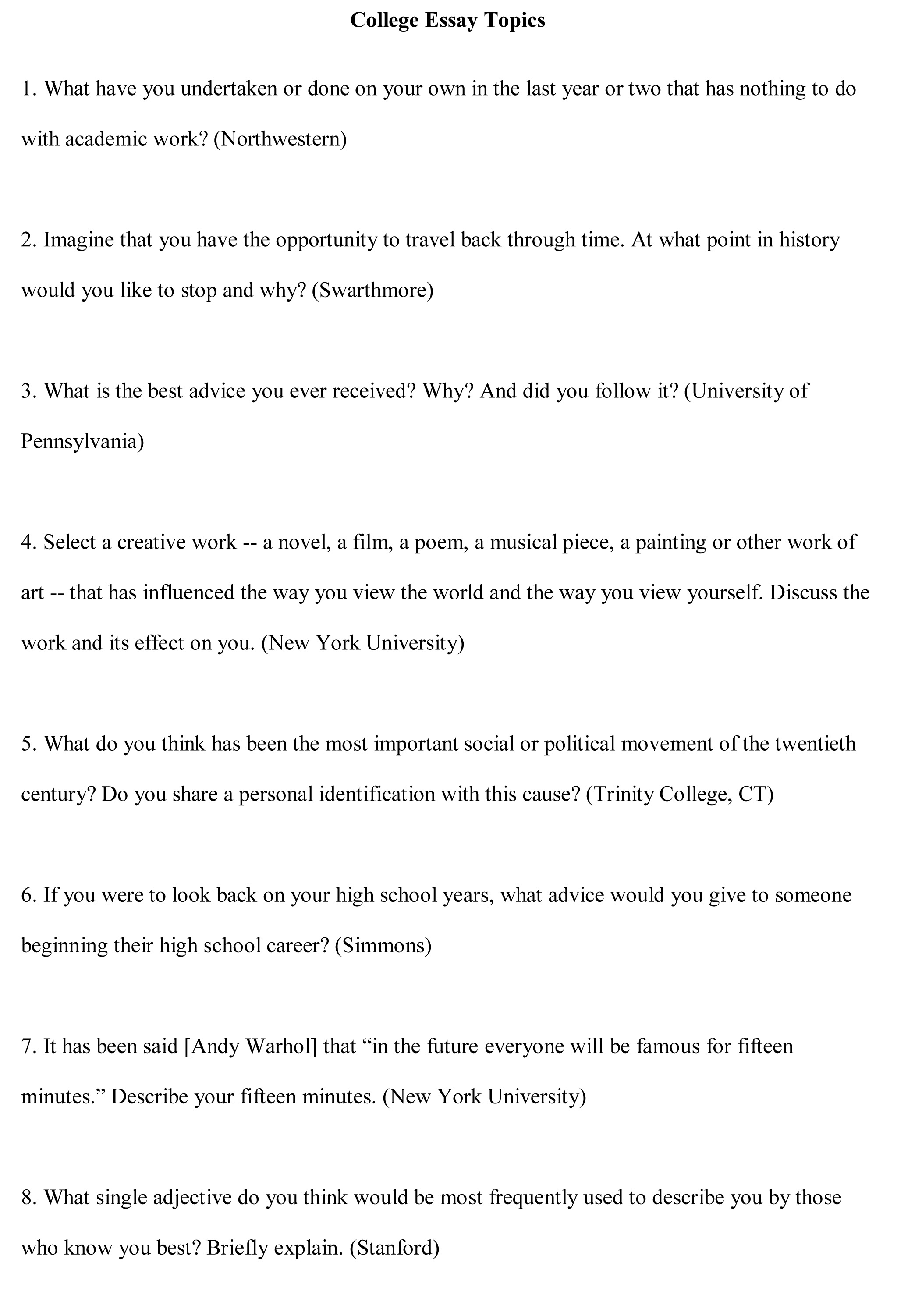 topics to write about in a college essay