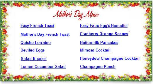 Mothers Day Recipes Breakfast In Bed Lunch Dinner Menus To