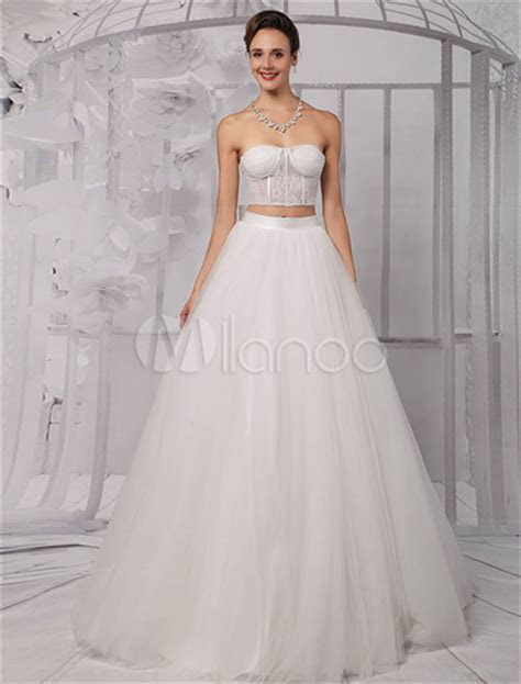 Two Pieces Strapless Lace Corset Crop Top Ball Gown
