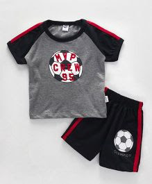 Teddy Half Sleeves T-Shirt And Shorts Set Football Print - Grey Black