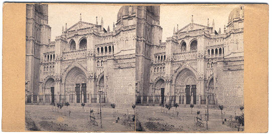 Fotografía estereoscópica de la Catedral de Toledo en el siglo XIX
