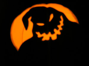 Jack-o-lantern of Oogie Boogie from The Nightmare Before Christmas