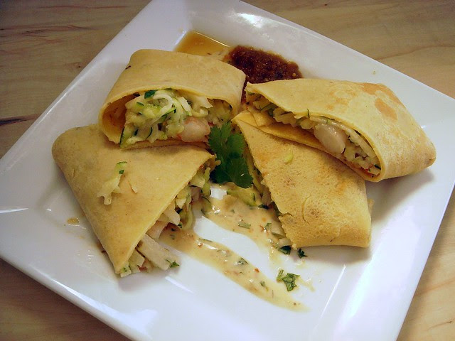 Herdez Spicy Cornmeal Crepes with Baja Shrimp Filling