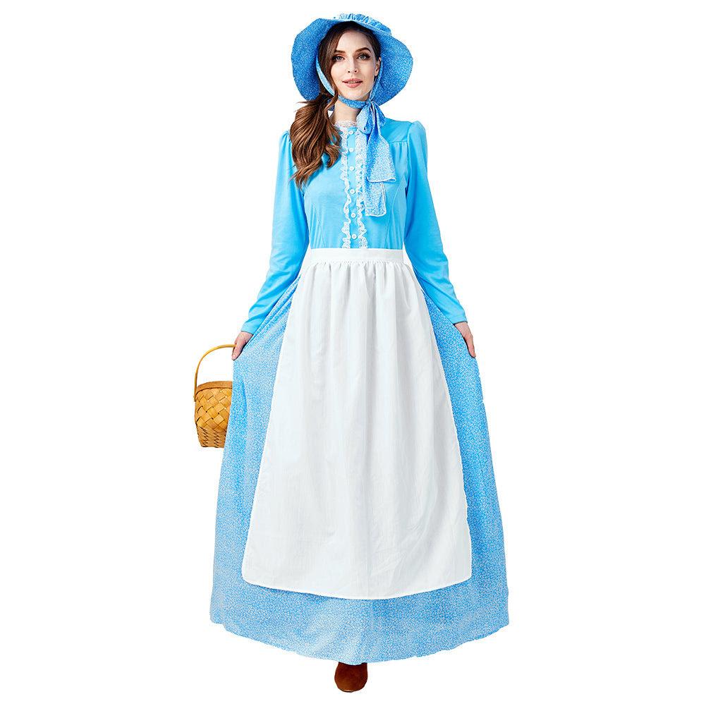 koloniale kleidung damen frauen dienstmÄdchen kleid blaue kleid cosplay  erwachsene für halloween karneval mottoparty usw