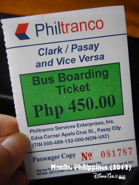 Day 7 - Philippines Bus Ticket to Clark Airport