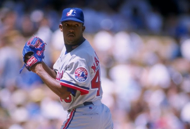 14 Aug 1997: Pitcher Pedro Martinez of the Montreal Expos winds up to throw a pitch during the Expos 1-0 loss to the Los Angeles Dodgers at Dodger Stadium in Los Angeles, California