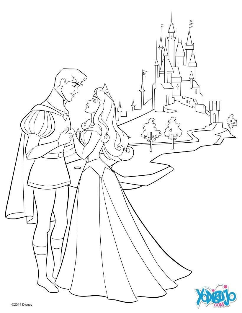 Dibujos Para Colorear La Bella Durmiente Y Su Príncipe Es