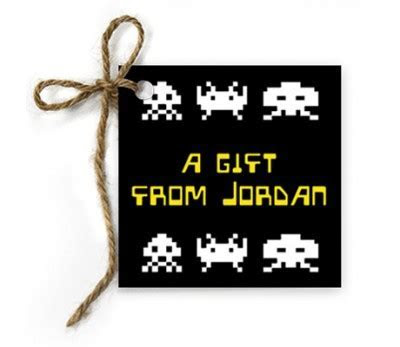 Space Invaders Birthday Gift Tags