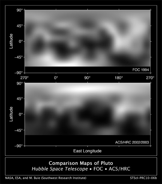Pluto as seen by ESA's Faint Object Camera (top) and Hubble's Advanced Camera for Surveys