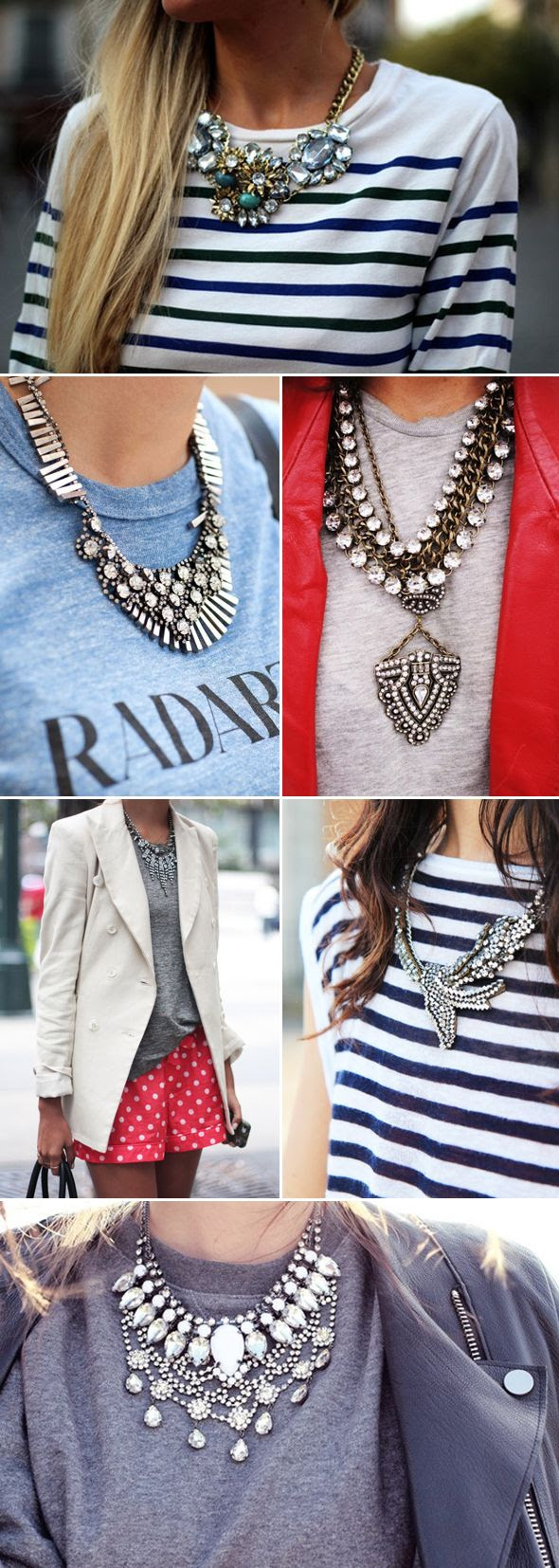 statement necklace with casual t's