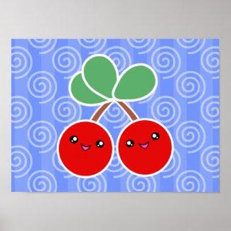 Merry Cherries Kawaii Poster print