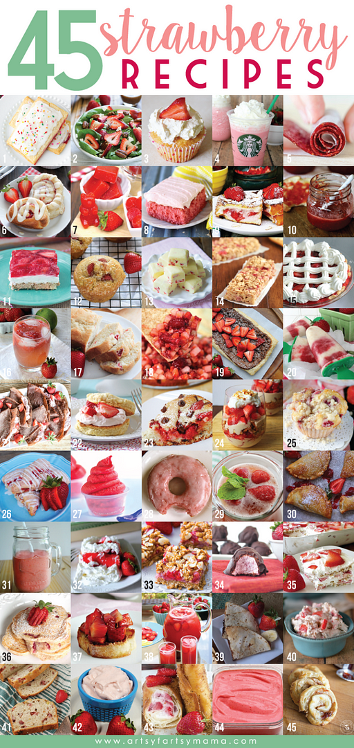 45 Strawberry Recipes at artsyfartsymama.com