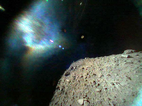 A snapshot taken by Japan's MINERVA-II Rover-1B shortly after it was deployed from the Hayabusa2 spacecraft on September 21, 2018 (Japan Time).
