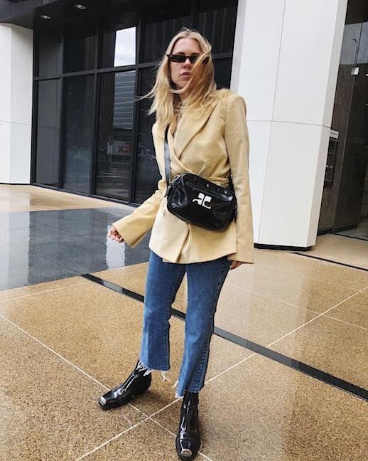 Le fashion Blog Courtney Trop Updated Staples Cat Eye Sunglasses Cream Oversized Blazer Straight Leg Raw Hem Jeans Black Square Toe Boots Via @Alwaysjudging
