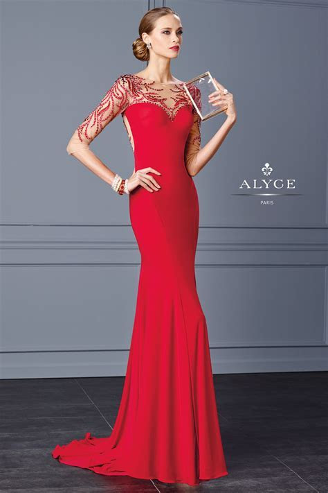 Alyce Black Label 5705 Slim Jersey Gown: French Novelty