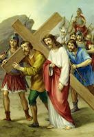 Simon and Jesus carry the Cross