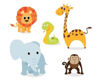 ライオン蛇キリン象猿のイラストaieps ベクタークラブ