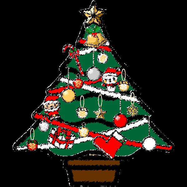 手書き風でかわいいクリスマスツリーの無料イラスト商用フリー