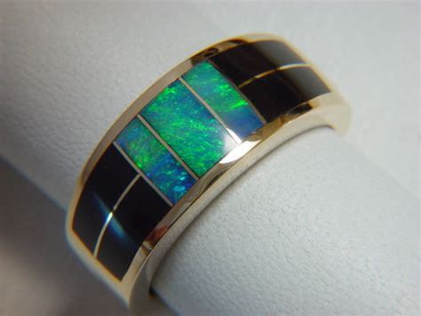 Black Jade and Opal Inlaid 10 mm wide 14 Karat Gold Ring