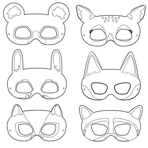 woodland forest animals coloring masks  happilyafterdesigns