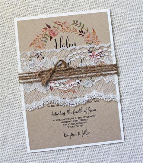 Rustic Wedding Invitation, Lace Wedding Invitation