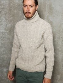 Edwin Beige Battalion Cable Roll Neck Sweater