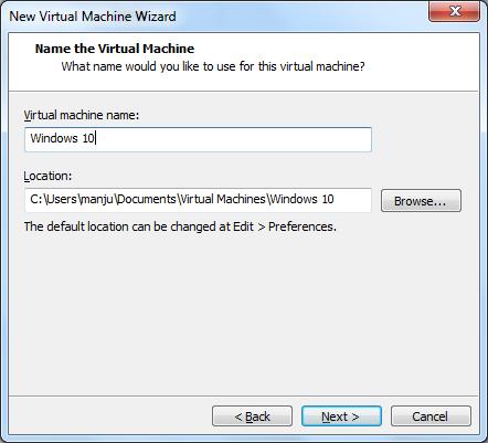VMWare settings for Windows 10