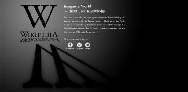 Página inicial da Wikipedia nos EUA exibe protesto; versão brasileira está disponível