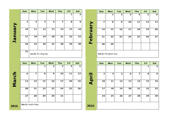 2016 Four Monthly Calendar Template - Free Printable Templates