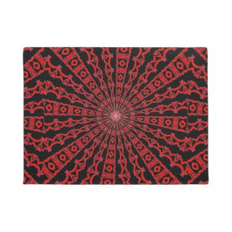 Red and Black Kaleidoscope Design on Doormat