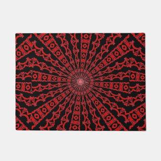 Red and Black Kaleidoscope Design on Doormat