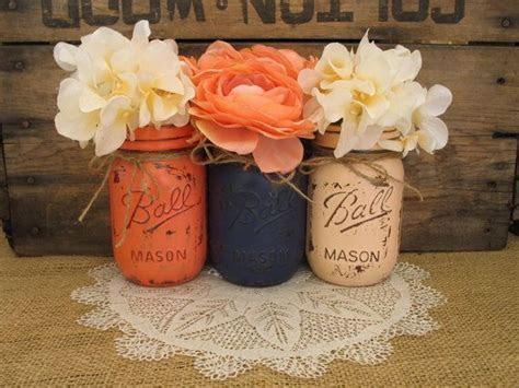 Set of 4 Pint Mason Jars, Ball jars, Painted Mason Jars
