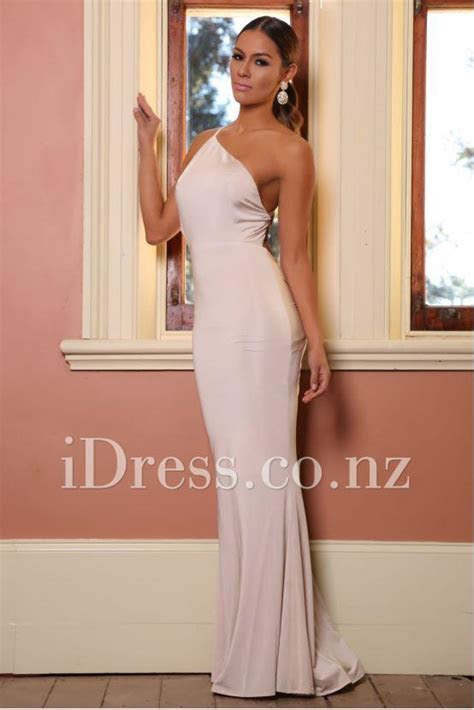 One Shoulder Body Hugging Sleeveless Low Back Prom Dress