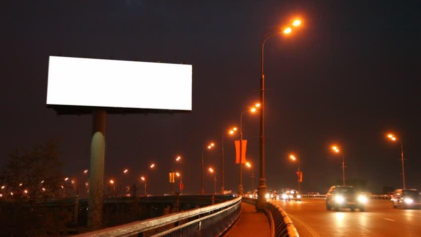 Empty Billboard Near Bridge With Moving Cars In Night City Stock ...