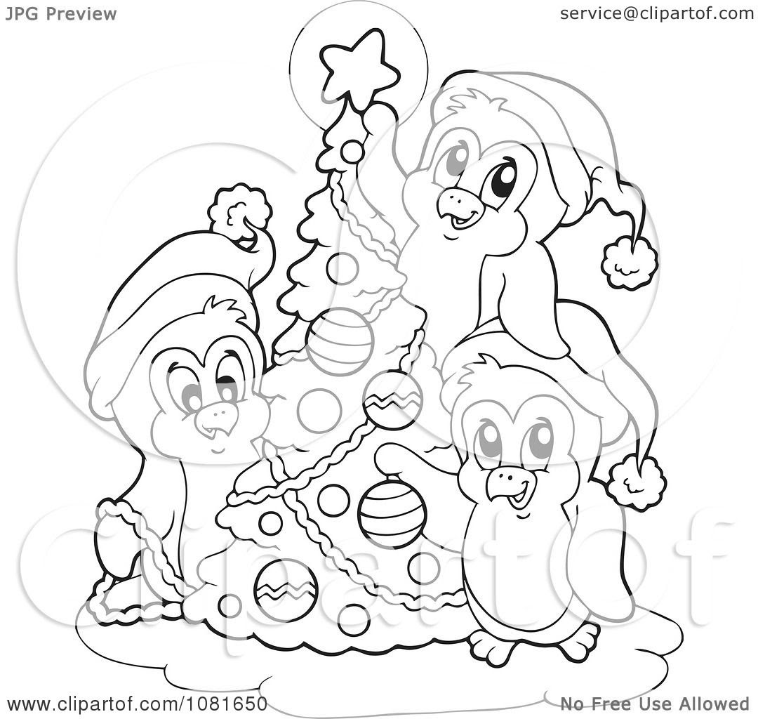 Clipart Outlined Penguins Decorating A Christmas Tree ...