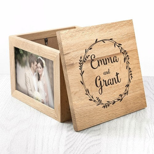 Couples Oak Photo Keepsake Box Wooden Photo Cube