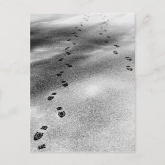 Footprints in Snow postcard