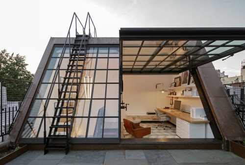 stunning attic workspace with direct rooftop access