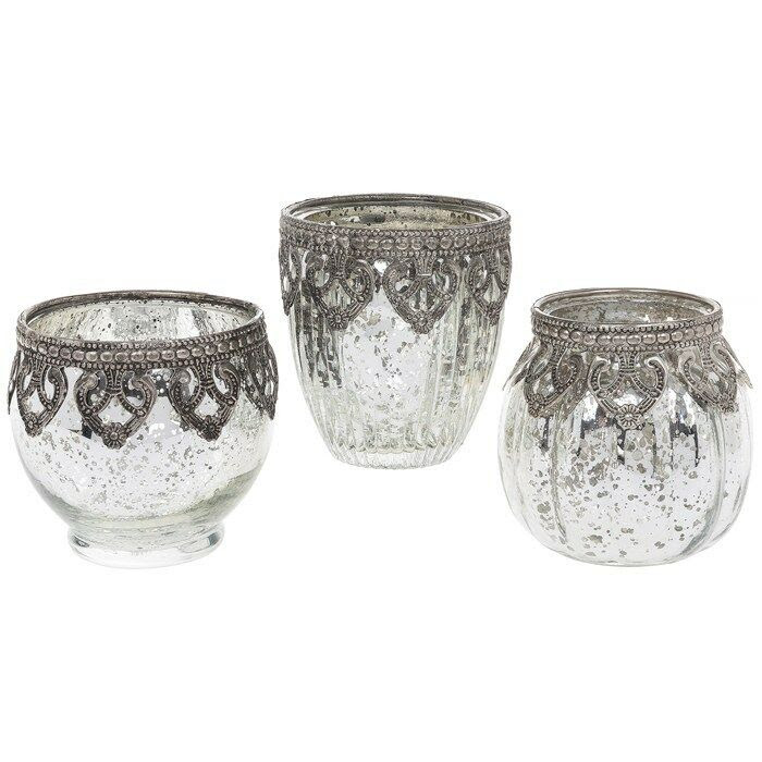 3 Vintage Lace Mercury Glass MOROCCAN Tealight Candle ...