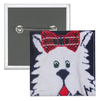 scottie scottish yerrier puppy dog plaid button