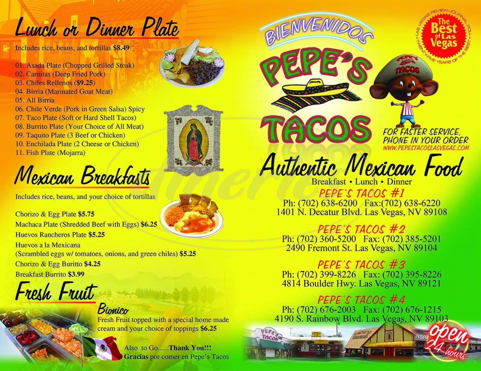 Pepe S Tacos Menu Las Vegas Dineries
