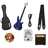 Yamaha GigMaker Electric Bass Package with Gig Bag, Tuner, Cable, Instructional DVD, and Strap - Blue