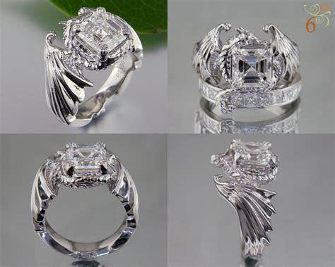 Dragon ring with asscher centerstone and its tail wrapped