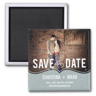 Refined Elegance Save The Date Magnet - Blue Magnet