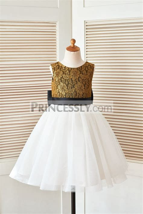 Gold Lace Ivory Tulle Flower Girl Dress with Black Belt