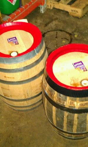 Oak beer barrels