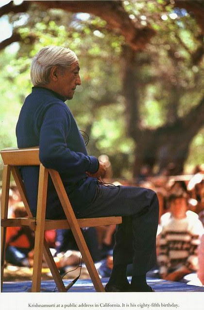 Jiddu Krishnamurti at a public address in California. It is his eighty-fifth birthday..